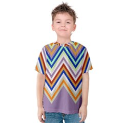 Chevron Wave Color Rainbow Triangle Waves Grey Kids  Cotton Tee