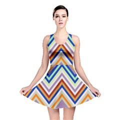 Chevron Wave Color Rainbow Triangle Waves Grey Reversible Skater Dress