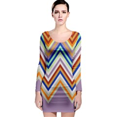 Chevron Wave Color Rainbow Triangle Waves Grey Long Sleeve Bodycon Dress