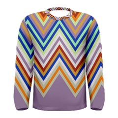 Chevron Wave Color Rainbow Triangle Waves Grey Men s Long Sleeve Tee