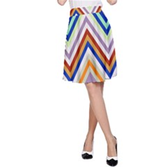 Chevron Wave Color Rainbow Triangle Waves Grey A Line Skirt