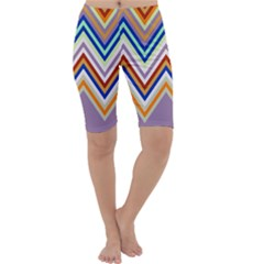 Chevron Wave Color Rainbow Triangle Waves Grey Cropped Leggings