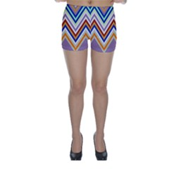 Chevron Wave Color Rainbow Triangle Waves Grey Skinny Shorts