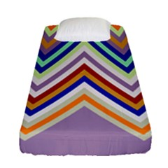 Chevron Wave Color Rainbow Triangle Waves Grey Fitted Sheet (single Size)