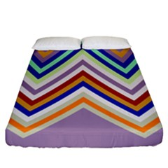 Chevron Wave Color Rainbow Triangle Waves Grey Fitted Sheet (king Size) by Alisyart