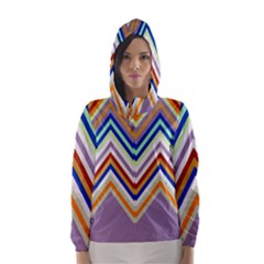 Chevron Wave Color Rainbow Triangle Waves Grey Hooded Wind Breaker (women)