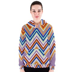 Chevron Wave Color Rainbow Triangle Waves Grey Women s Zipper Hoodie