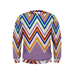 Chevron Wave Color Rainbow Triangle Waves Grey Kids  Sweatshirt