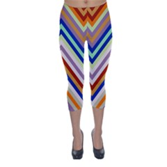 Chevron Wave Color Rainbow Triangle Waves Grey Capri Winter Leggings