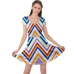 Chevron Wave Color Rainbow Triangle Waves Grey Cap Sleeve Dresses