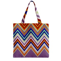 Chevron Wave Color Rainbow Triangle Waves Grey Zipper Grocery Tote Bag