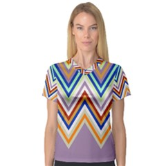 Chevron Wave Color Rainbow Triangle Waves Grey Women s V Neck Sport Mesh Tee