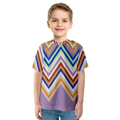 Chevron Wave Color Rainbow Triangle Waves Grey Kids  Sport Mesh Tee