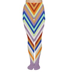 Chevron Wave Color Rainbow Triangle Waves Grey Women s Tights