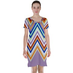 Chevron Wave Color Rainbow Triangle Waves Grey Short Sleeve Nightdress