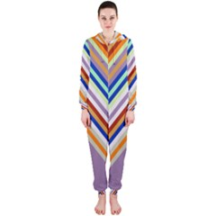 Chevron Wave Color Rainbow Triangle Waves Grey Hooded Jumpsuit (ladies)