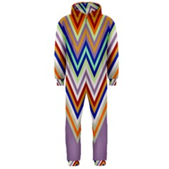 Chevron Wave Color Rainbow Triangle Waves Grey Hooded Jumpsuit (men)