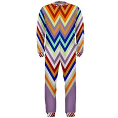 Chevron Wave Color Rainbow Triangle Waves Grey Onepiece Jumpsuit (men)