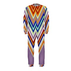 Chevron Wave Color Rainbow Triangle Waves Grey Onepiece Jumpsuit (kids)