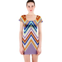 Chevron Wave Color Rainbow Triangle Waves Grey Short Sleeve Bodycon Dress