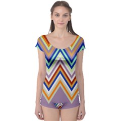 Chevron Wave Color Rainbow Triangle Waves Grey Boyleg Leotard