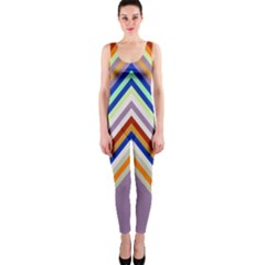 Chevron Wave Color Rainbow Triangle Waves Grey Onepiece Catsuit