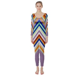 Chevron Wave Color Rainbow Triangle Waves Grey Long Sleeve Catsuit