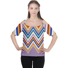 Chevron Wave Color Rainbow Triangle Waves Grey Women s Cutout Shoulder Tee