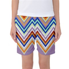 Chevron Wave Color Rainbow Triangle Waves Grey Women s Basketball Shorts