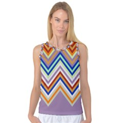 Chevron Wave Color Rainbow Triangle Waves Grey Women s Basketball Tank Top