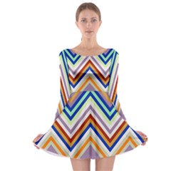 Chevron Wave Color Rainbow Triangle Waves Grey Long Sleeve Skater Dress
