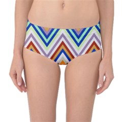 Chevron Wave Color Rainbow Triangle Waves Grey Mid Waist Bikini Bottoms