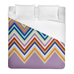 Chevron Wave Color Rainbow Triangle Waves Grey Duvet Cover (full/ Double Size)