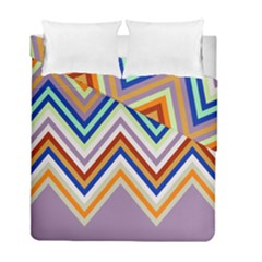 Chevron Wave Color Rainbow Triangle Waves Grey Duvet Cover Double Side (full/ Double Size)