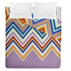 Chevron Wave Color Rainbow Triangle Waves Grey Duvet Cover Double Side (queen Size)