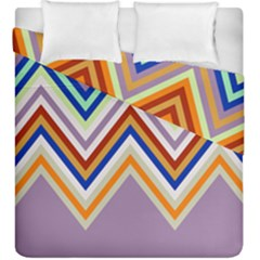 Chevron Wave Color Rainbow Triangle Waves Grey Duvet Cover Double Side (king Size)