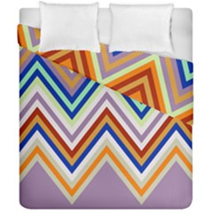 Chevron Wave Color Rainbow Triangle Waves Grey Duvet Cover Double Side (california King Size)