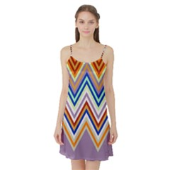 Chevron Wave Color Rainbow Triangle Waves Grey Satin Night Slip