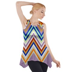 Chevron Wave Color Rainbow Triangle Waves Grey Side Drop Tank Tunic