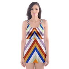 Chevron Wave Color Rainbow Triangle Waves Grey Skater Dress Swimsuit