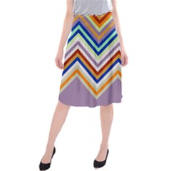 Chevron Wave Color Rainbow Triangle Waves Grey Midi Beach Skirt