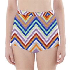 Chevron Wave Color Rainbow Triangle Waves Grey High Waisted Bikini Bottoms