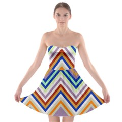 Chevron Wave Color Rainbow Triangle Waves Grey Strapless Bra Top Dress