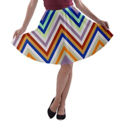 Chevron Wave Color Rainbow Triangle Waves Grey A Line Skater Skirt