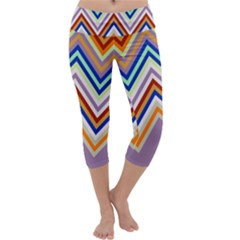 Chevron Wave Color Rainbow Triangle Waves Grey Capri Yoga Leggings