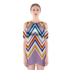 Chevron Wave Color Rainbow Triangle Waves Grey Shoulder Cutout One Piece