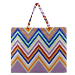 Chevron Wave Color Rainbow Triangle Waves Grey Zipper Large Tote Bag