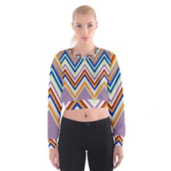 Chevron Wave Color Rainbow Triangle Waves Grey Women s Cropped Sweatshirt