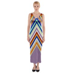 Chevron Wave Color Rainbow Triangle Waves Grey Fitted Maxi Dress