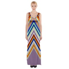 Chevron Wave Color Rainbow Triangle Waves Grey Maxi Thigh Split Dress